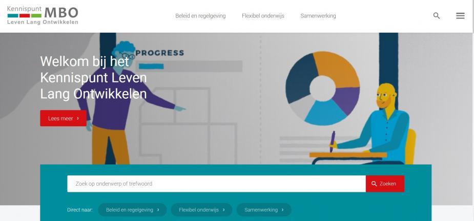 Afbeelding van website Kennispunt MBO Leven Lang Ontwikkelen