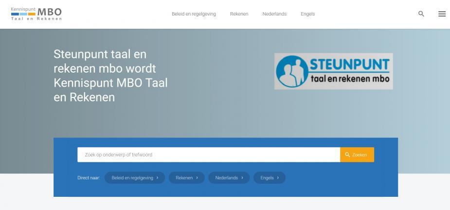 Afbeelding van website Kennispunt MBO Taal en Rekenen