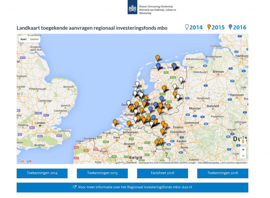Landkaart toegekende aanvragen regionaal investeringsfonds mbo