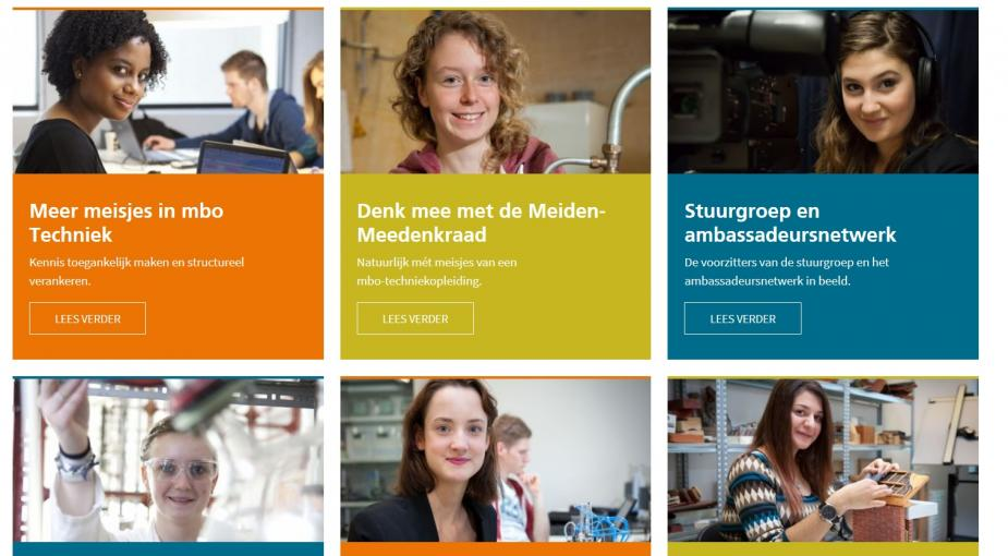 Afbeelding van de website Meer meisjes in de techniek