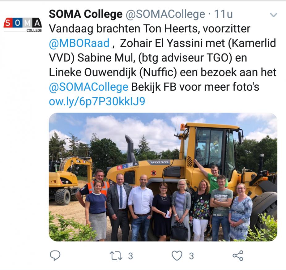 tweet Soma college schoolbezoek