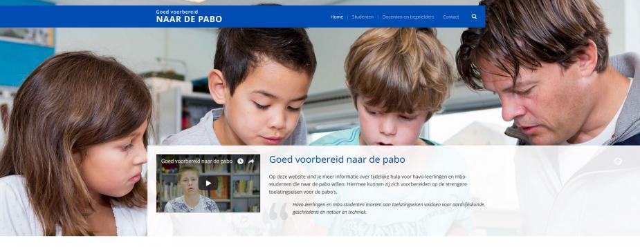 Afbeelding van website Goed voorbereid naar de pabo
