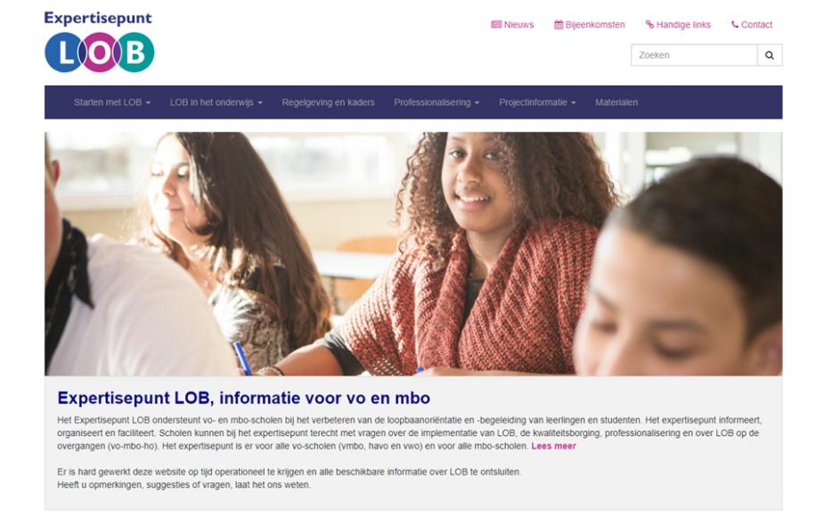Openingspagina van website Expterisepunt LOB