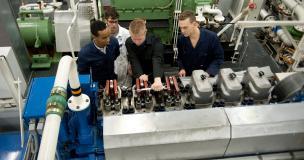 Studenten van het Scheepvaart en Transport College